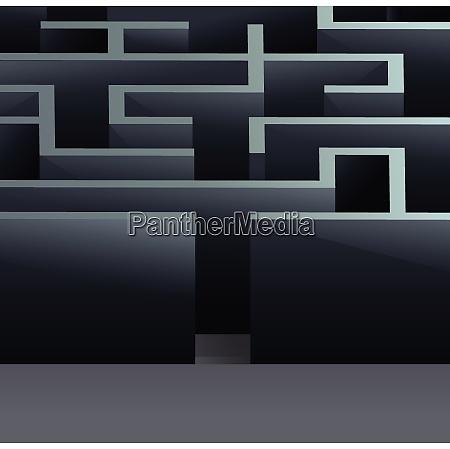 maze 3d square labyrinth entrance view