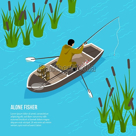 alone fisher with spinning rod in