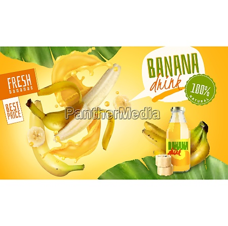 realistic banana juice packaging ads poster