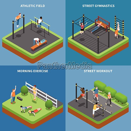 street workout morning exercises and outdoor