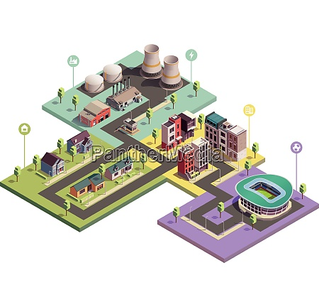 suburbian buildings isometric composition with view