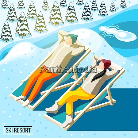visitors of ski resort during sun