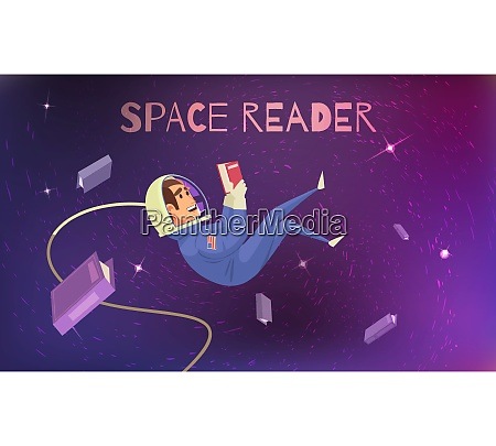 space reading background with cosmonaut in