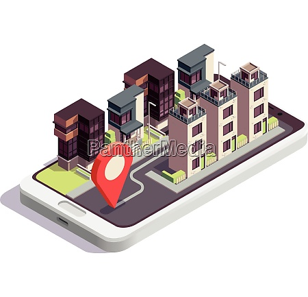 townhouse buildings isometric composition with modern
