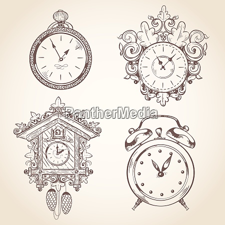 old vintage clock and stopwatch sketch