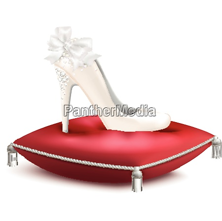 white decorated high heel wedding princess