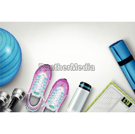 fitness shoes sneakers water bottle mat