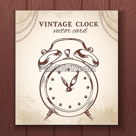 old vintage retro sketch alarm clock