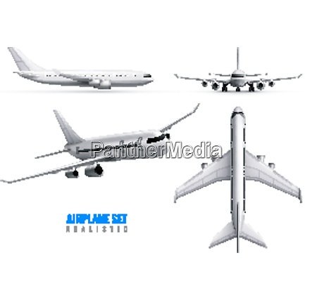 civil aircraft realistic identity set of
