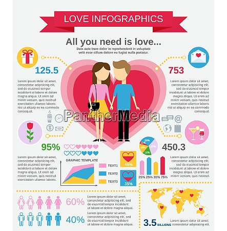 love marriage couple infographic set with