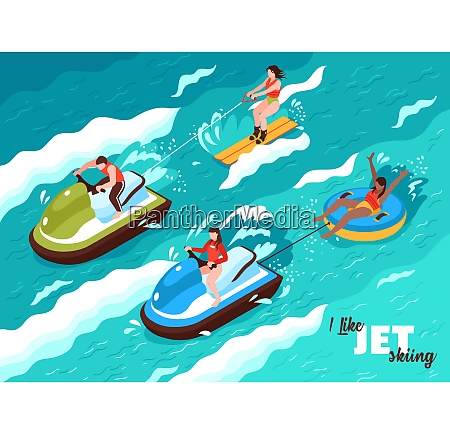 summer water sport isometric poster on