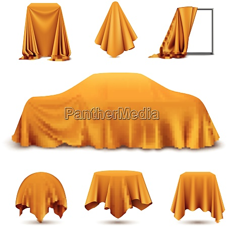 golden silk cloth covered objects realistic