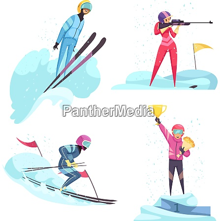 winter sports concept icons set with
