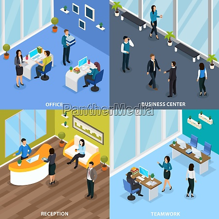 office people in business center during