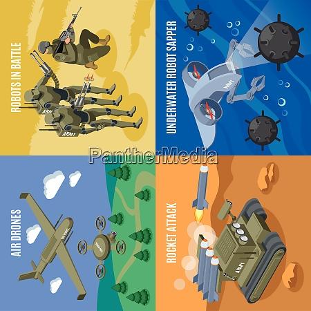 military robots in battle 2x2 design