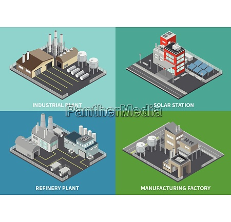 industrial buildings concept icons set with