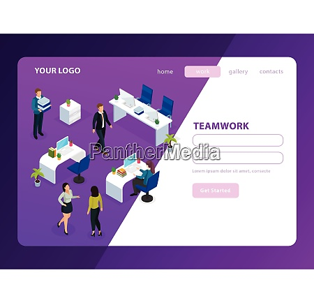 people in office during work isometric