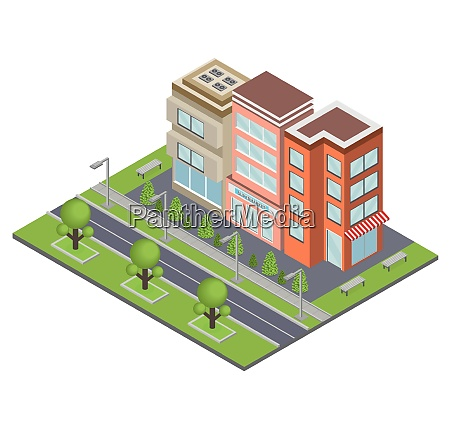 suburbia buildings concept with real estate