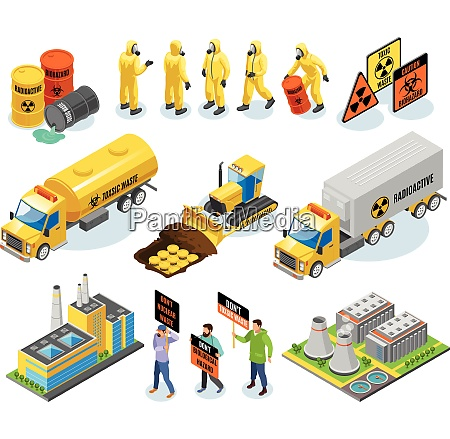 toxic waste isometric icons with nuclear