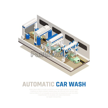 carwash service isometric consept with automatic