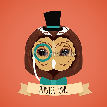 animal owl with monocle hat and