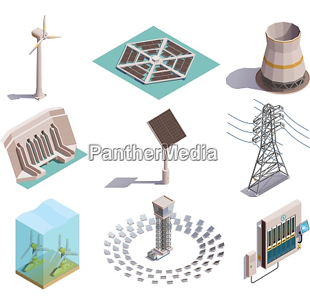 green energy production isometric icons set