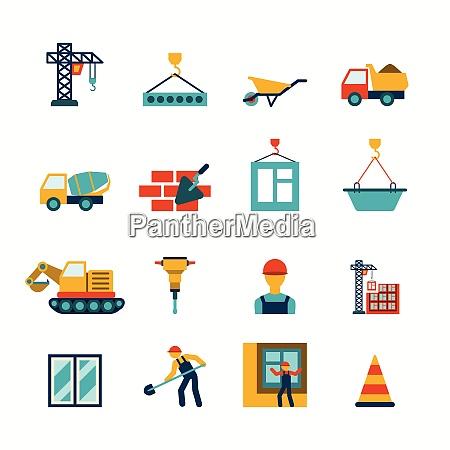 building construction structure elements flat pictograms