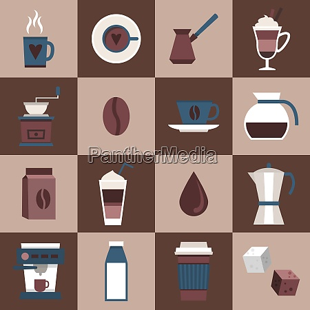 coffee flat icons set with cup