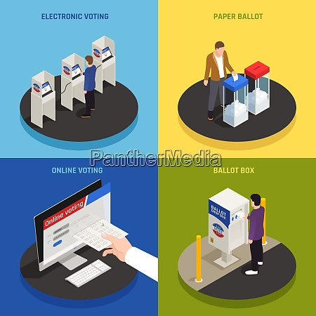 elections and voting concept icons set