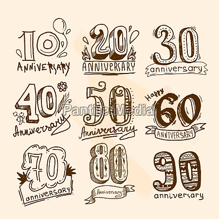 anniversary celebration hand drawn signs collection
