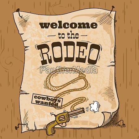 wild west cowboy hand drawn rodeo