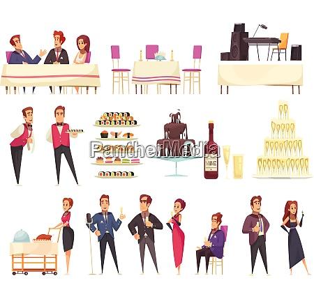 banquet set of cartoon icons service