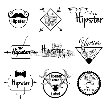 hipster world pack sketch retro label