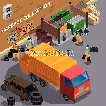 garbage recycling isometric composition with outdoor