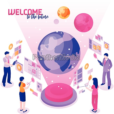 isometric colorful concept with people using