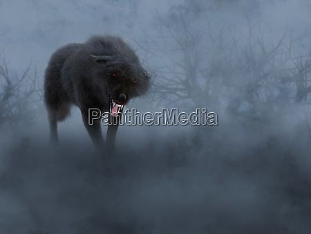 3d rendering of a black wolf