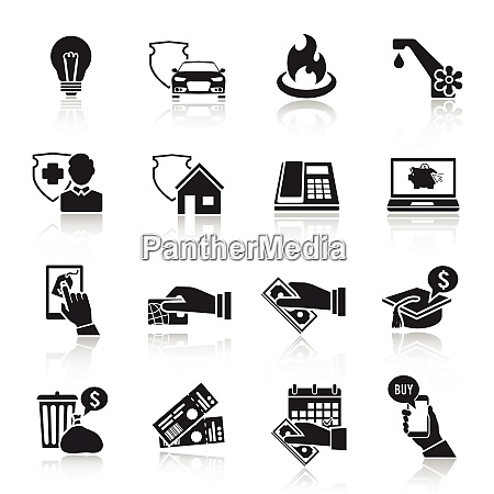 pay bill taxes payment deposit icons