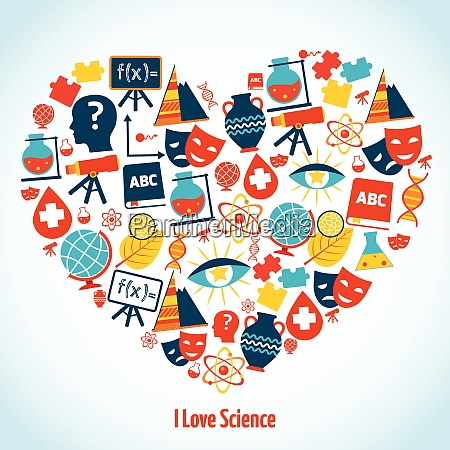 education heart concept with science symbols