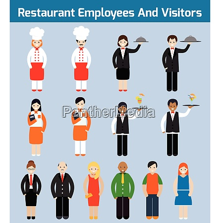 restaurant employees and visitors flat avatars