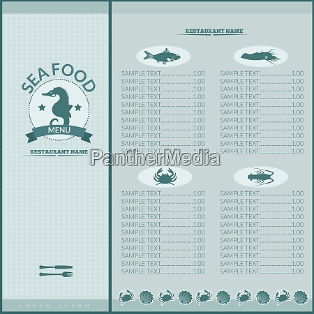 seafood restaurant menu list template with