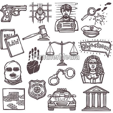 law justice and legislation icon sketch