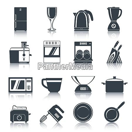 kitchen appliances icons black set with