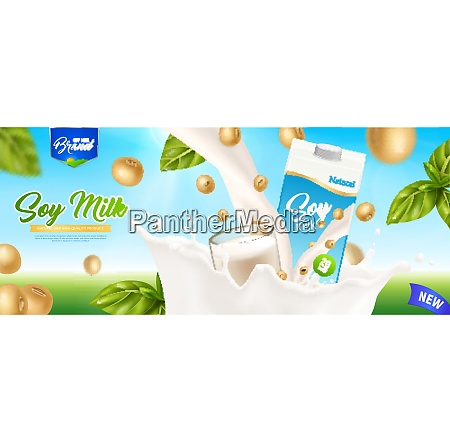 soy milk realistic colored poster with
