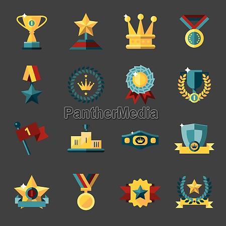 award icons set of trophy medal