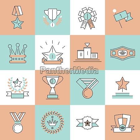award icons flat line set of