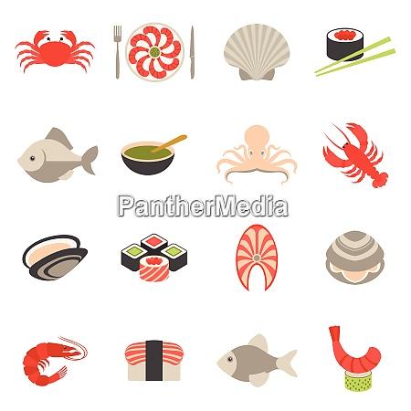 seafood fish menu restaurant icons set