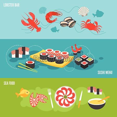 seafood banner set with sea food