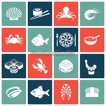 seafood fish menu restaurant icons set