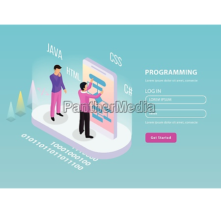 freelance programming isometric composition with two