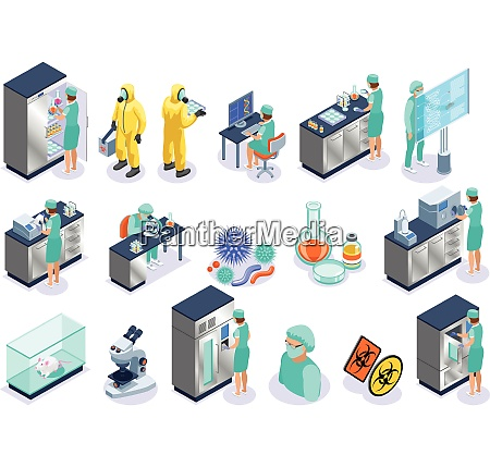 microbiology isolated isometric icon set with